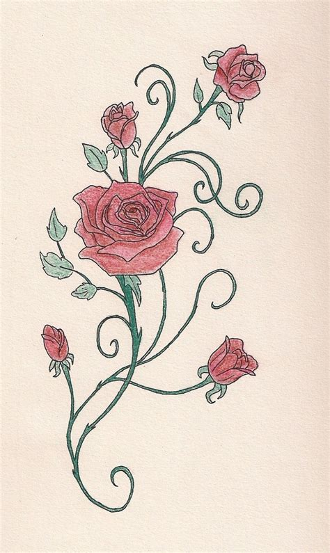 rose vine with pastels tattoo pictures tattoomagz