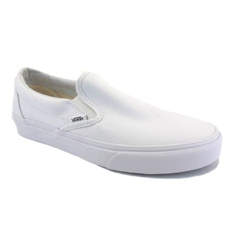 vans slip on womens canvas white white trainers new shoes