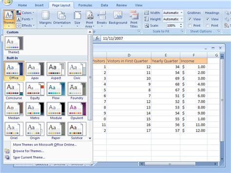 excel themes and styles view and apply a theme theme 171 format style 171 microsoft