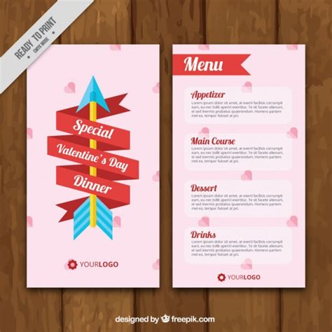 day menu template s day menu template with ribbon and arrow vector free