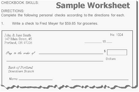 Writing Checks Worksheet by Pictures Check Writing Practice Worksheets Dropwin