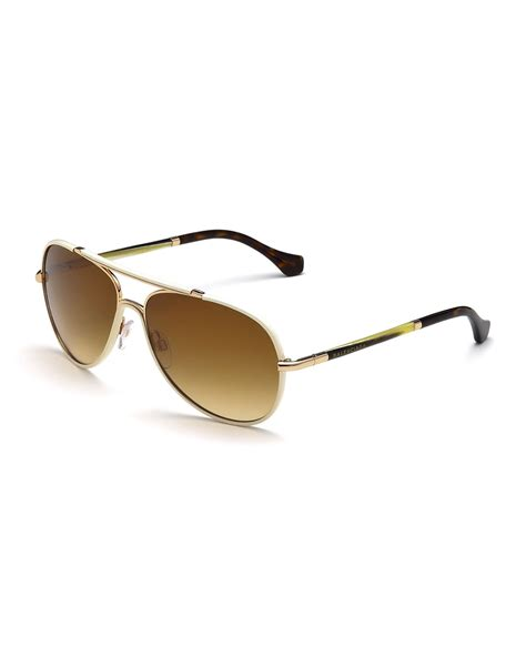 lyst balenciaga leather covered aviator sunglasses in metallic for