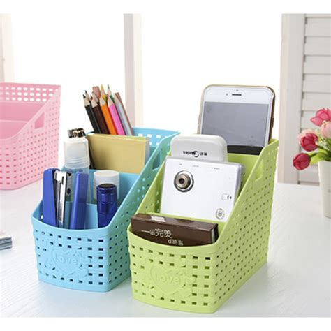Plastic Desk Organizer 1pc Multipurpose Desk Organizer Plastic Desktop Storage Box Pen Pencil Holder Plastic