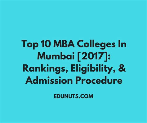 Mba In Financial Markets In Mumbai by Top 10 Mba Colleges In Mumbai 2017 Rankings