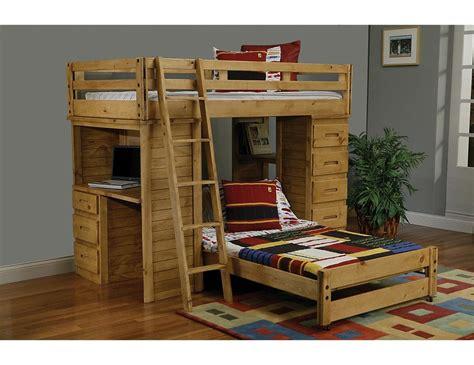 Ponderosa Pine Student Loft Bunk Bed With Desk And Student Bunk Bed With Desk