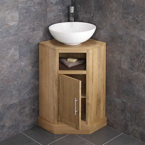 Bathroom Vanities Corner Units Solid Oak Space Saving Corner Bathroom Freestang Vanity Unit Basin Sink Ebay