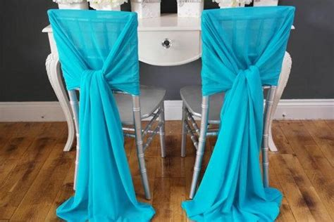 Soft blue chiffon wedding chair covers and sashes 2015 new custom made long wedding banquet