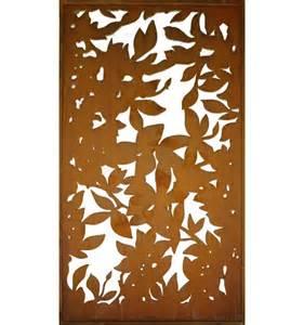 metall sichtschutz rostig mit blattwerk motiv 200 cm x 100 cm