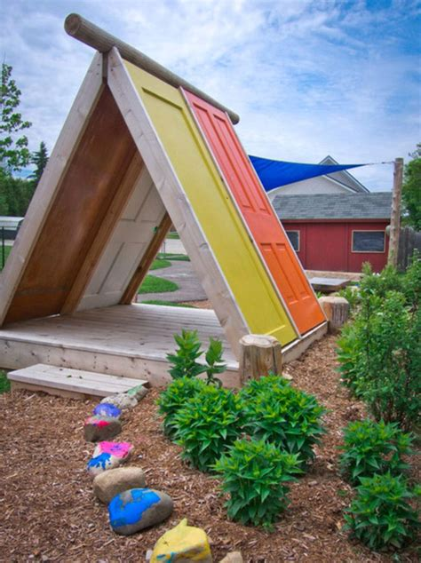 cool backyard fort playhouse made from doors would make