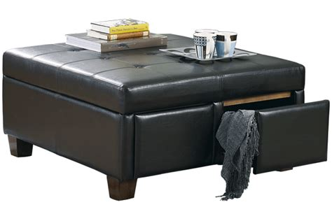 leather ottoman with drawers furniture big square black leather storage drawer ottoman