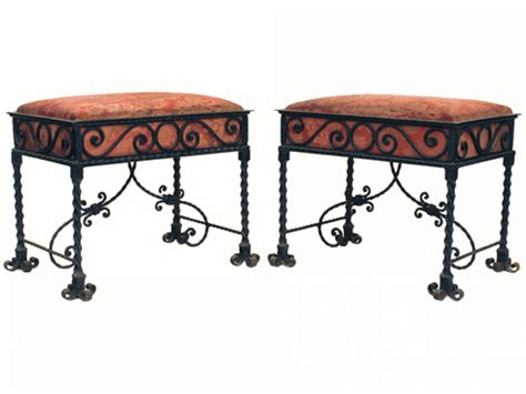 upholstered bench with wrought iron legs pair of wrought iron upholstered benches robuck co