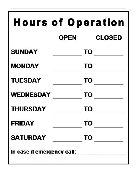 Business Hours Sign Template Word Rusinfobiz Hours Template