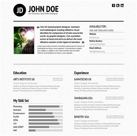 Best Resume Template For Ipad by 48 Best Free Amp Premium Html Cv Resume Templates Wakaboom