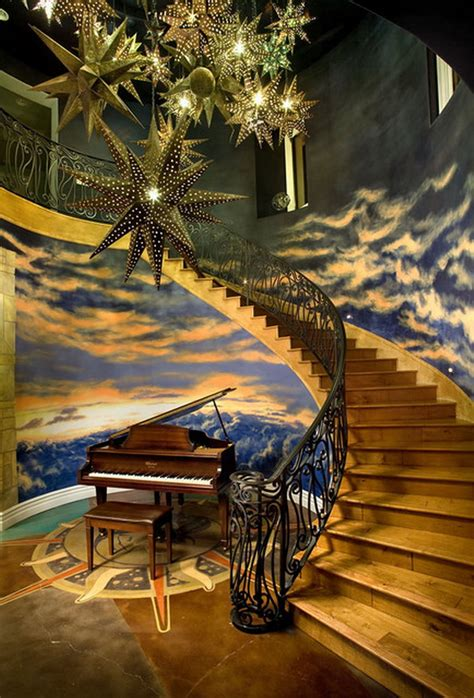 awesome wall murals awesome clouds wall murals in eclectic staircase wallpaper mural ideas 16619