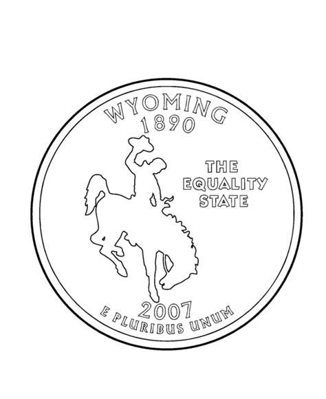 Coloring Page Quarter by Wyoming State Quarter Coloring Page Usa State Quarters