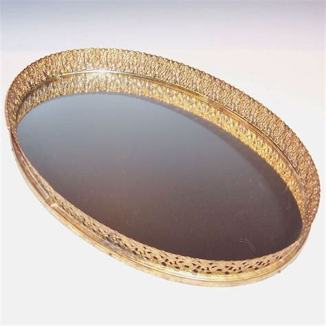 vintage vanity oval mirrored tray from ruthsredemptions on