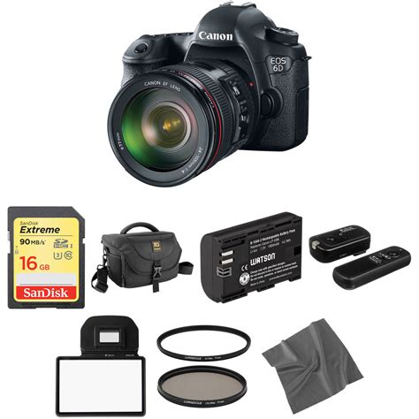 canon 6d dslr canon eos 6d dslr with 24 105mm f 4l lens basic kit b h
