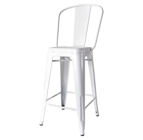 Industrial Bar Stool With Back Bouchon Industrial White With Back Cafe Counter Stool Set Of 4 Kathy Kuo Home