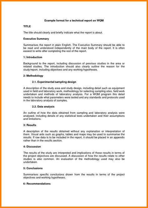 technical report template 9 technical report letter sle g unitrecors