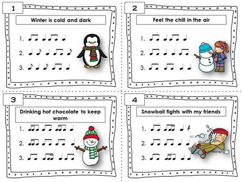 music pattern activities winter music activities rhythm task cards student keys