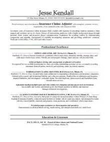 Claims Adjuster Resume Sle by Exle Claims Adjuster Resume Free Sle