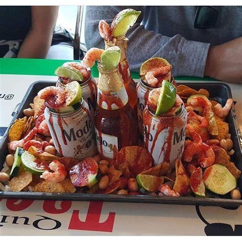 beerships tostitos camaron pepino cacahuate limon chile  chamoy micheladas aguachiles