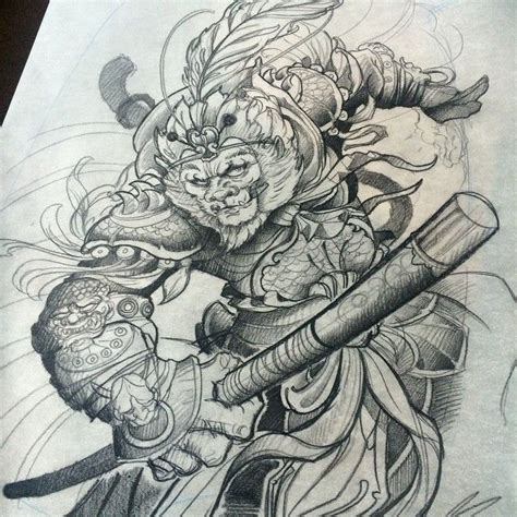 ninja monkey tattoo quot monkey king drawing in progress frostbackcollective