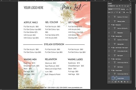 Pricing List Template Price List Template Menu Template Price Menu Template