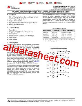 transistor uln2003an datasheet uln2003an datasheet pdf instruments
