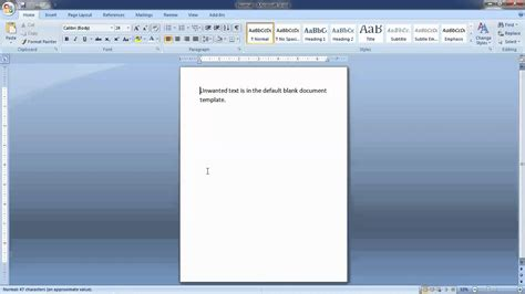 Changing Default New Blank Document Template In Word 2007 Youtube Microsoft Word Default Template