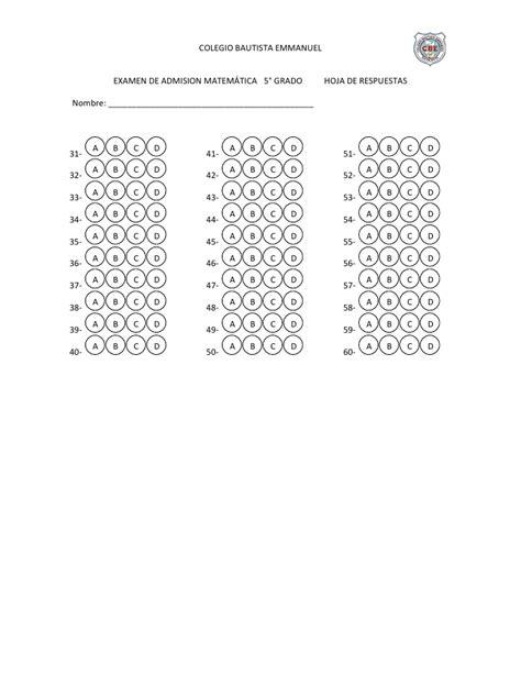 hoja de respuestas de examen de primaria 5 grado 2016 examen de admision quinto matem 225 tica