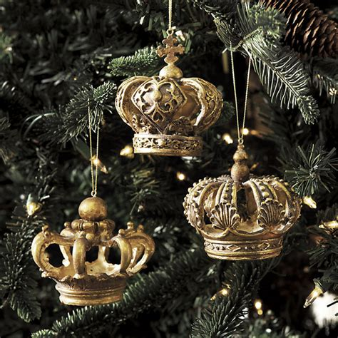 set of 3 crown ornaments traditional holiday