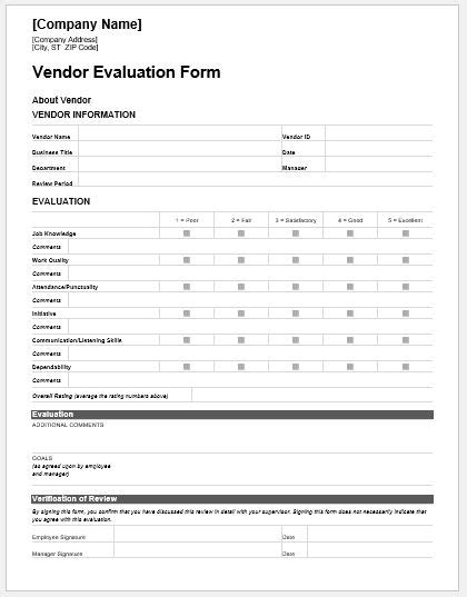 vendor evaluation form 24 vendor performance management