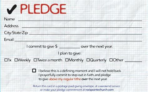pledge card template pledge cards for churches pledge card templates my