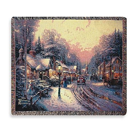 thomas kinkade holiday village christmas throw blanket