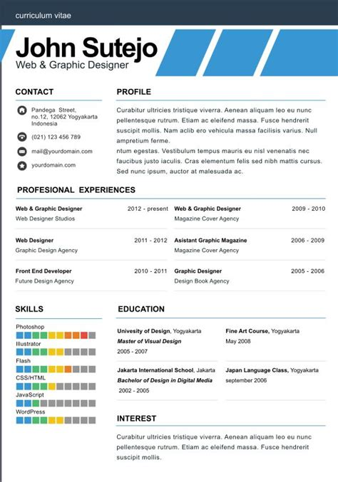1 Page Resume Templates by One Page Resume Template