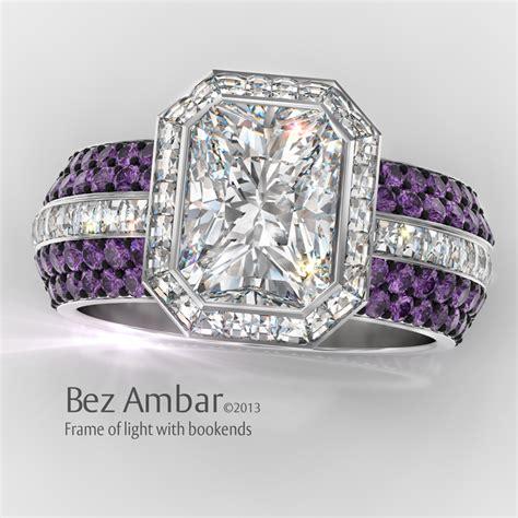 light amethyst engagement rings frame of fire radiant cut wedding ring set