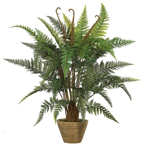 leather fern faux silk plant contemporary artificial