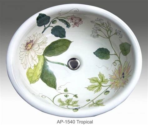 tropical hand painted design in self rimming sink