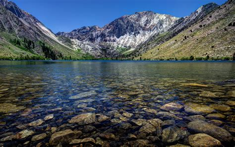 mountains landscapes nature rocks usa california lakes convict lake wallpaper 2560x1600