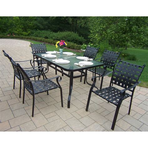 glass patio set shop oakland living web 7 glass dining patio dining