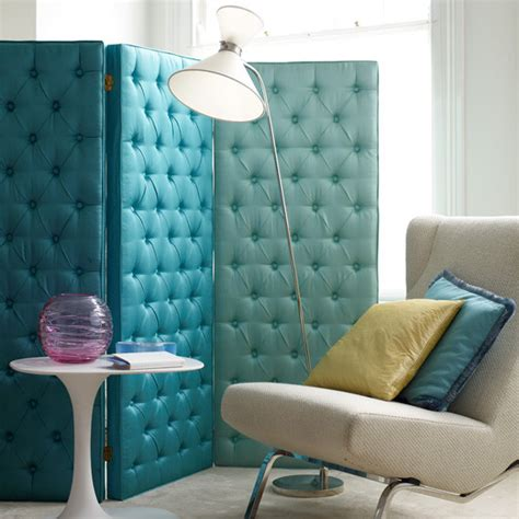 Upholstered Room Divider Turquoise Upholstered Screen Eclectic Screens And Room Dividers