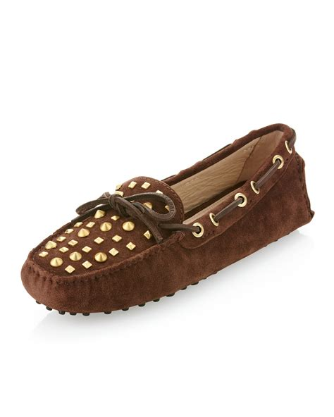 studded loafers michael kors penley studded loafer in brown lyst