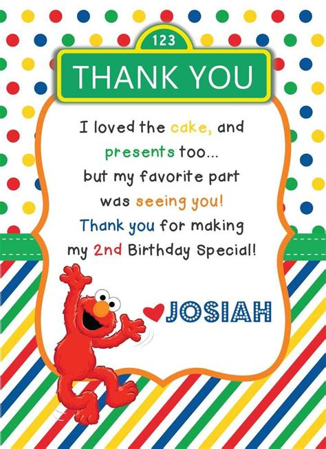 sesame thank you card template 128 best sesame birthday ideas images on
