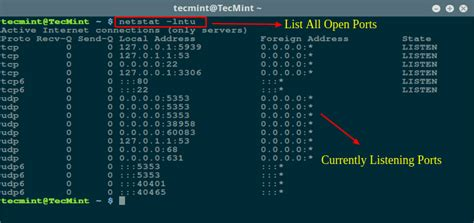 check for open port how to find out list of all open ports in linux