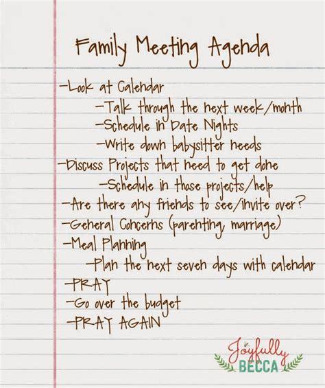 Joyfully Becca Family Meeting Agenda Family Meeting Agenda Templates