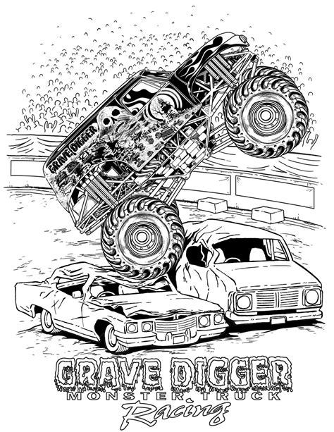 monster jam grave digger truck monster truck coloring pages letscoloringpages com grave