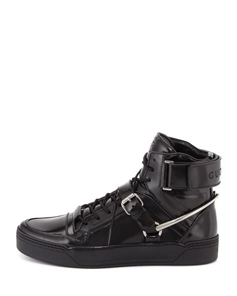 gucci tennis shoes for gucci spur tennis leather high top sneaker with horsebit
