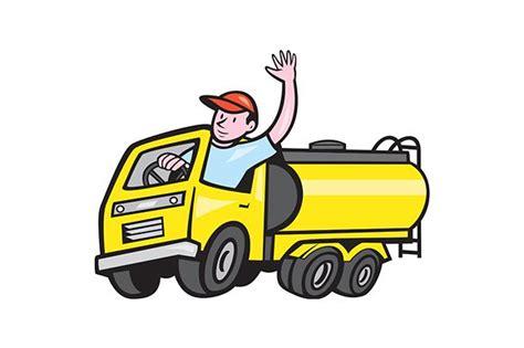 tanker truck driver waving illustrations creative market
