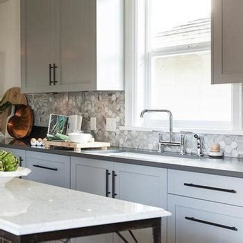 grey backsplash ideas grey marble staggered kitchen backsplash design ideas
